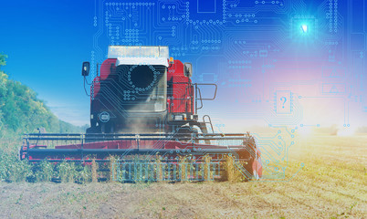 combine management, harvesting and soil preparation using artificial intelligence, background. Future technologies for agriculture
