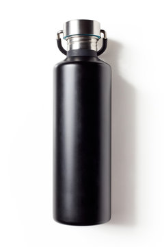 Black metal water bottle isolated on white