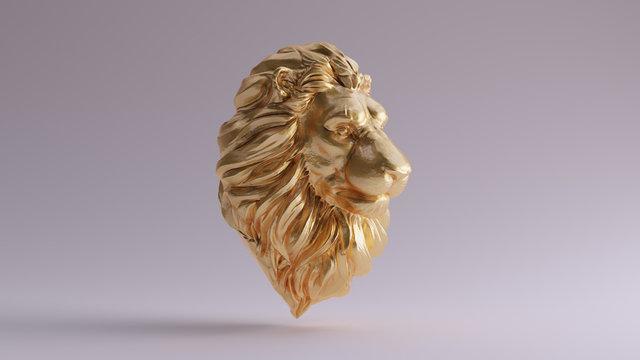 Gold Adult Male Lion Bust Sculpture Front 3d illustration 3d render