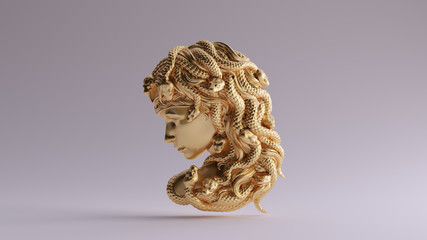 Antique Gold Medusa Bas Relief 3d illustration 3d render