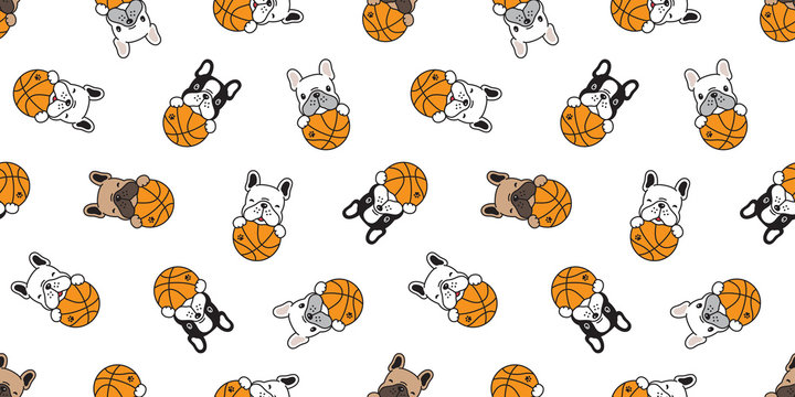 dog seamless pattern french bulldog vector basketball sport ball scarf isolated repeat wallpaper tile background doodle illustration
