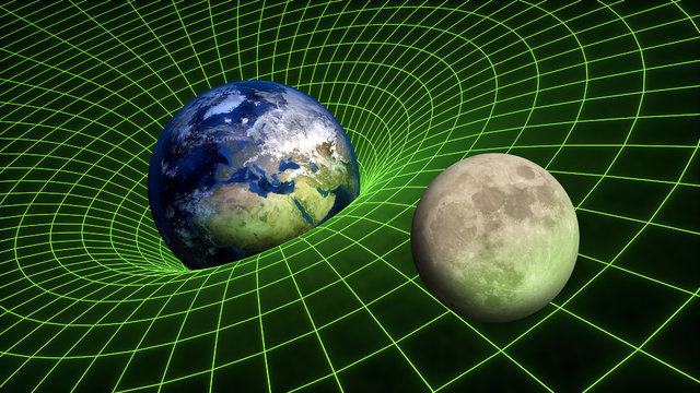 Gravity Field bend spacetime relativity Earth Moon Planets