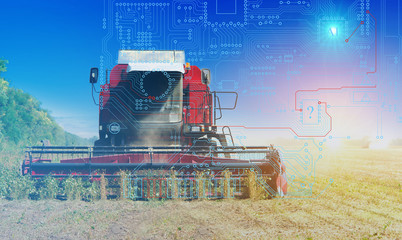 combine management, harvesting and weed control using artificial intelligence, background. Future technologies for agriculture