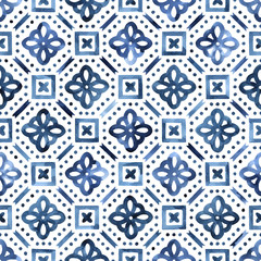 Blue and white watercolor pattern. Ornament in moroccan style hand-drawn. Vector illustration.