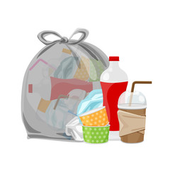 pile of waste dump and bag plastic black isolated on white background, plastic bottle garbage waste, transparent plastic waste glass and paper cup garbage, illustration for garbage pollution