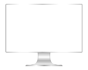front of flat monitor white screen computer, pc display digital wide screen and slim, icon of monitor modern lcd, symbol 3d modern screen, mock up full screen desktop empty isolated white background