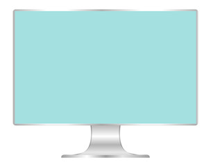 front of flat monitor light blue screen computer, pc display digital wide screen and slim, icon monitor modern lcd, symbol 3d modern screen, mock up full screen desktop empty isolated white background