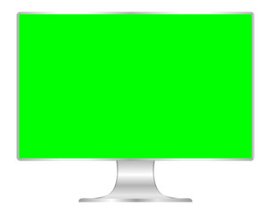 front of flat monitor green screen computer, pc display digital wide screen and slim, icon of monitor modern lcd, symbol 3d modern screen, mock up full screen desktop empty isolated white background