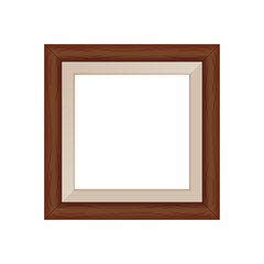 framework brown wooden blank for picture, image of square frames brown color square isolated on white background, blank vintage frame image cute, empty frames picture chic luxury on white
