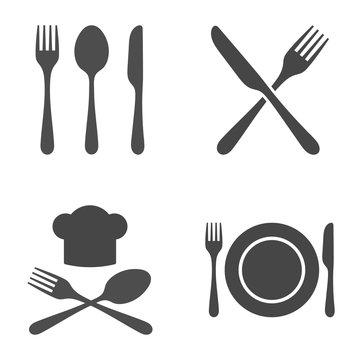 Cutlery Restaurant Icon Set. Vector illustration on white background.