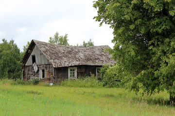 old wooden house in the village