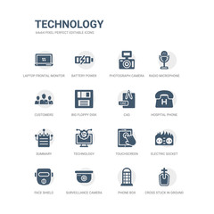 simple set of icons such as cross stuck in ground, phone box, surveillance camera, face shield, electric socket on fire, touchscreen, technology, summary, hospital phone, cad. related technology