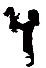 a girl playing with her doll, silhouette vector
