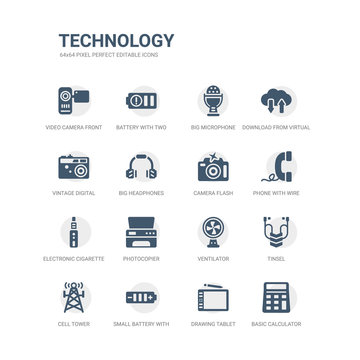 simple set of icons such as basic calculator, drawing tablet, small battery with medium charge, cell tower, tinsel, ventilator, photocopier, electronic cigarette, phone with wire, camera flash.