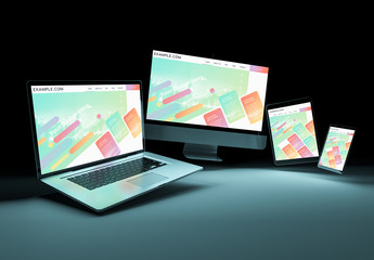 4 Screen Devices on Dark Background Mockup