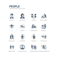 simple set of icons such as networking connection, teacher reading, masculine avatar, rehabilitation, psychologist, paramedic, pulmonary, chiropractic, recovery, physiotherapy. related people icons