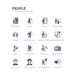 simple set of icons such as two hearts, man thinking about love, man with afro hair style, boy angel head, identification pass, magician boy, student books, lance, healthcare and medical, insurance