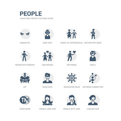 simple set of icons such as curling hair, female with long hair, female long hair, trade mark, network connection, navigation helm, blind date, hip, emoji, boyfriend. related people icons