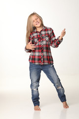 Portrait of a girl with long blond hair who poses. White background