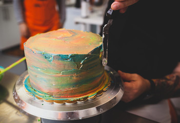 Preparation of cake and carnival pastries.