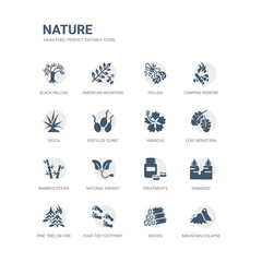 simple set of icons such as mountain colapse, woods, four toe footprint, pine tree on fire, damaged, treatments, natural energy, bamboo sticks, leaf monstera, hibiscus. related nature icons