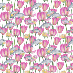 Watercolor illustration with whales. Seamless pattern with watercolor dolphins and spring tulips. pastel colors pink and yellow. Ideal for web backgrounds, wallpaper, card designs, textiles.