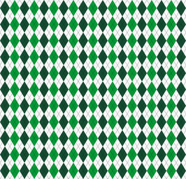 St. Patricks day Argyle. Pattern Scottish cage