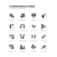 simple set of icons such as flag waving, ink bottle, digital phone, chat message, broadcasting, live news report, constructivism, i love you, news anchor, waving flag. related communications icons