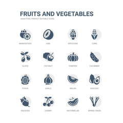 simple set of icons such as spring onion, watermelon, cherry, radishes, avocado, melon, garlic, pitaya, cucumber, pumpkin. related fruits and vegetables icons collection. editable 64x64 pixel
