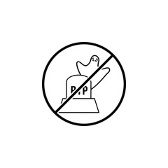 No ghost over the tombstone icon. Simple thin line, outline vector of Halloween ban, prohibition, forbid icons for UI and UX, website or mobile application