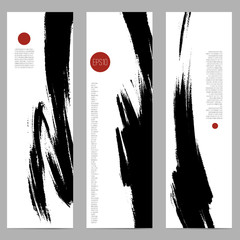Set of three vertical banners, abstract headers with hand painted ink strokes, artistic background collection. Monochrome painted texture.