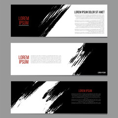 Set of three horizontal banners, abstract headers with hand painted ink strokes, artistic background collection. Monochrome painted texture.