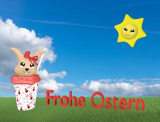 niedlicher 3d Kawaii Osterhase im Milchshake auf grüner Wiese mit Sonne, deutschem Text: Frohe Ostern und Wolkenhimmel.