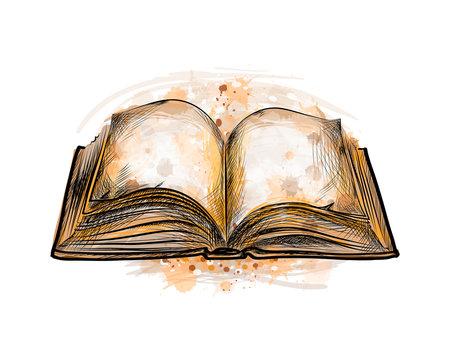 open book hand drawn sketch