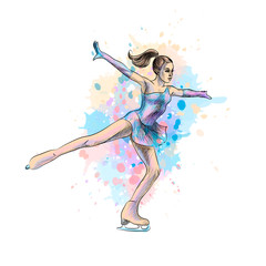 Abstract winter sport Figure skating girl from splash of watercolors. Winter sport