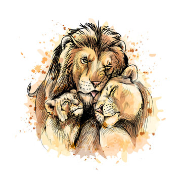 Family of lions from a splash of watercolor