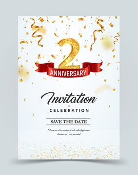 Invitation card template of 2 years anniversary with abstract text vector illustration. Greeting card template