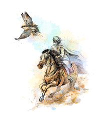 Falcon hunting. Arabian man with a falcon and a horse