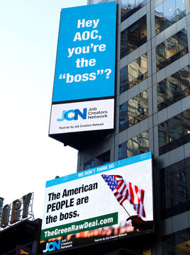 An electronic billboard unveiled by a pro-business group targeting Democratic Congresswoman Alexandria Ocasio-Cortez is seen in New York