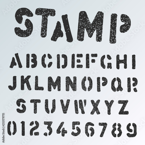 Stamp alphabet font template  Grunge letters and numbers