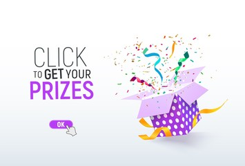 Click to get your prizes open textured purple box with confetti explosion inside. Flying particles from giftbox vector illustration on light background. Winning illustration template