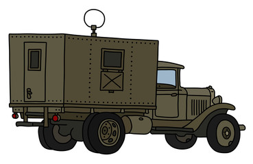 The vectorized hand drawing of an old military radio truck