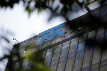 The Telmex's logo is seen on its headquarters building of internet and fixed-line phone company in Mexico City