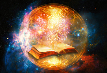 Artistic 3d Computer Generated Illustration Of A Colorful Fireworks Coming Out Of An Ancient Magical Book In An Energetic Field Artwork