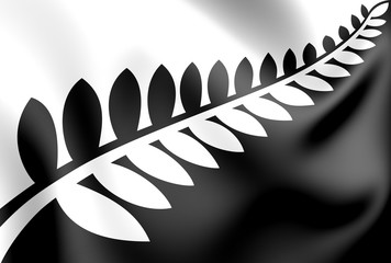 3d Silver Fern (Black and White) Flag, Proposal Flag New Zealand.