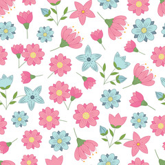 vector seamless pattern with spring flowers on a white background