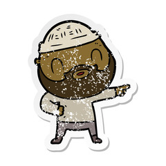 distressed sticker of a cartoon bearded man