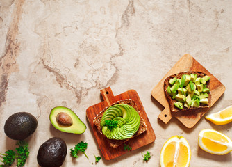 Delicious wholewheat toast with avocado slices. Healthy food
