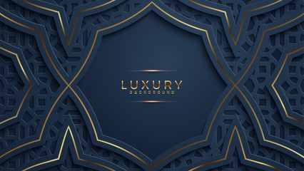 Luxury black background with a combination glowing golden dots with 3D style. Abstract black papercut textured background with shining golden halftone pattern.