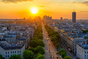 Skyline of Paris with la Defense is a major business district in Paris, France. Panoramic sunset view of Paris